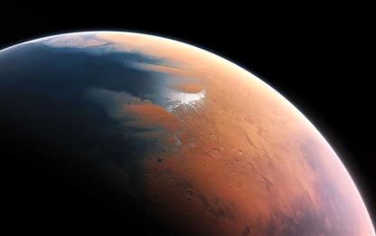 ilustração mostrando Marte há quatro bilhões de anos atrás