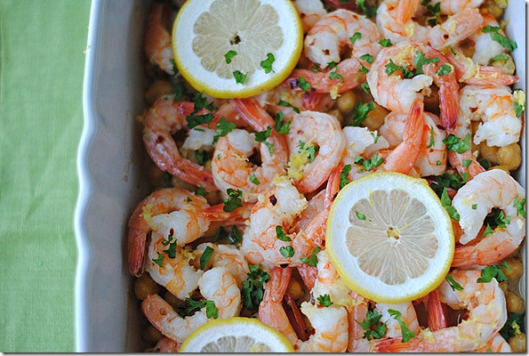 Lemon and Garlic Shrimp with Chickpeas from Eat Yourself Skinny