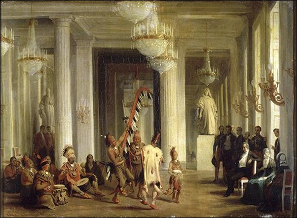 Karl Girardet,Louis Philippe assistant dans son salon des tuileries à la danse d'indiens Hovas