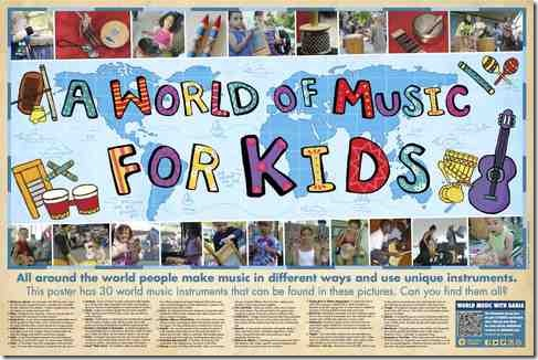 A World of Music For Kids Poster - World Instruments