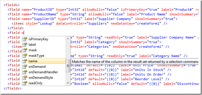 Code completion is available in Visual Studio when editing the Application and Controllers baselines.