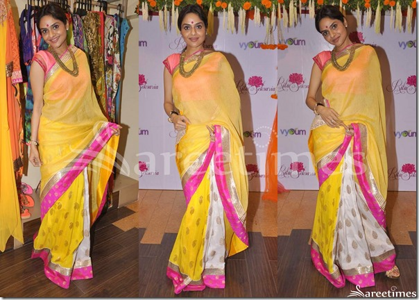 Madhubala_Yellow_White_Half_and_Half_Saree