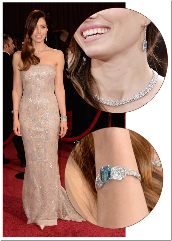 Jessica Biel wear jewelry at oscar 2014