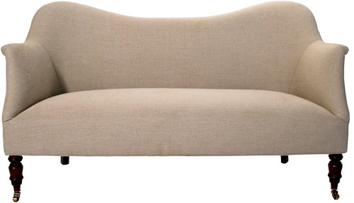 The simple silhouette of this sofa lets the natural linen fabric shine. 