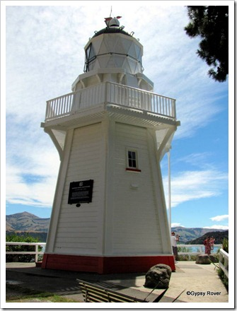 Akaroa lighthouse moved here in 1980 and restored as a heritage building.