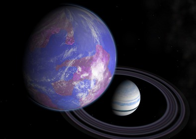 ilustração de um exoplaneta com seus anéis