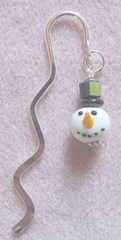 2011 Beaded gifts..snowman head metal hook bookmark