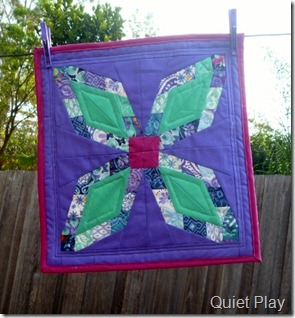 Too Pretty for Pickles mini quilt on the line