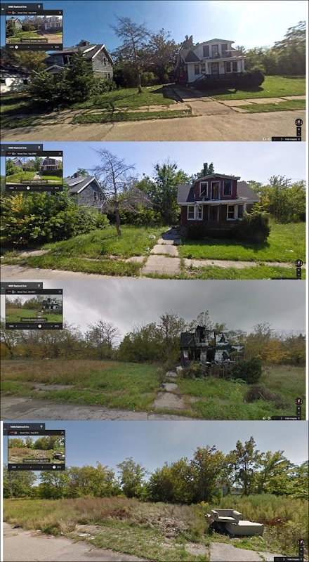 Houses on Eastwood Avenue, Detroit, photographed in 2008, 2009, 2011, and 2013. Photo: Redditor Scarbane / Google Street View