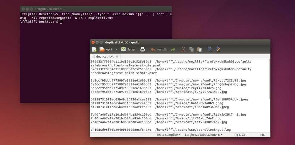 cercare immagini duplicate da terminale Linux