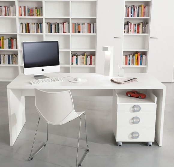 oficina librería blanca
