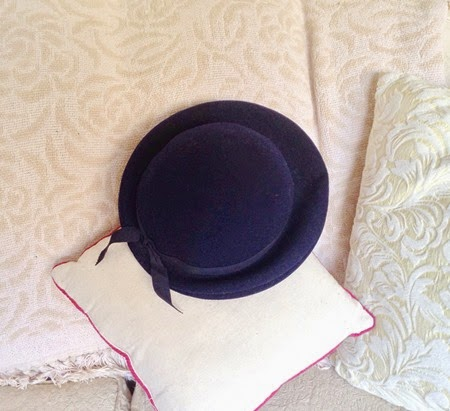 Vintage 1940's navy wool hat for the 40s fashion challenge   Lavender & Twill