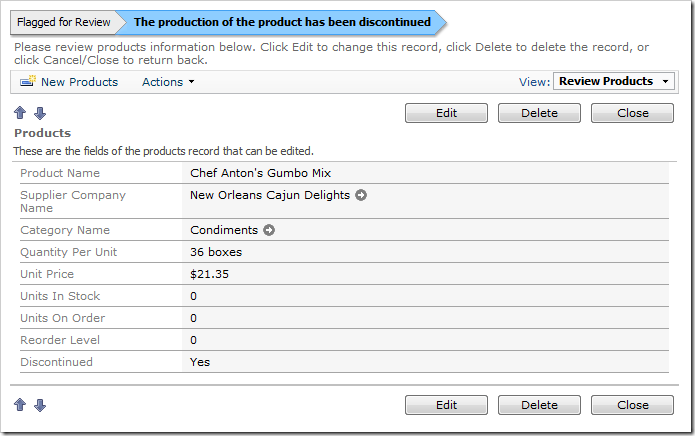The status bar indicates that the product has been discontinued.
