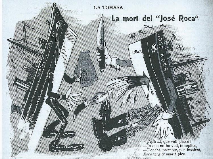 """Curioso dibujo incluido en el semanario catalán La Tomasa, titulado """"La mort del JOSE ROCA"""", que caricaturiza el abordaje entre ambos buques.jpg"""