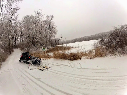 Setting a new track on Twin Lakes. Not much snow to work with but enough to set a shallow track with some sections full depth.