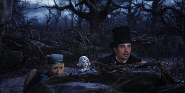 """OZ: THE GREAT AND POWERFUL""<br /><br />Finley (voiced by Zach Braff), left; China Girl (voidced by Joey King), center;  James Franco, right<br /><br />©Disney Enterprises, Inc. All Rights Reserved.<br />"
