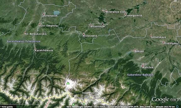 Carte du versant Nord du Caucase : le Mont Elbrouz, Kislovodsk et Mineral'nye Vody
