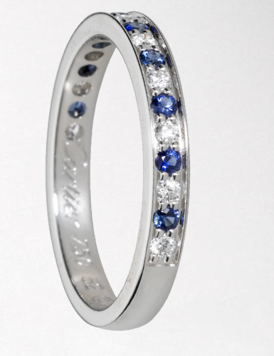 To play up her sapphire engagement ring, Kate should choose this Cartier band, set with diamonds and sapphires.