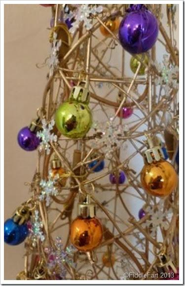 Bejewelled Dunelm Christmas Tree Cone. illuminated