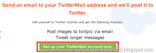 Clique em Set up your TwitterMail account now