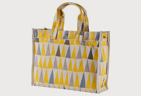 Canvas flag tote yellow gray one kings lane