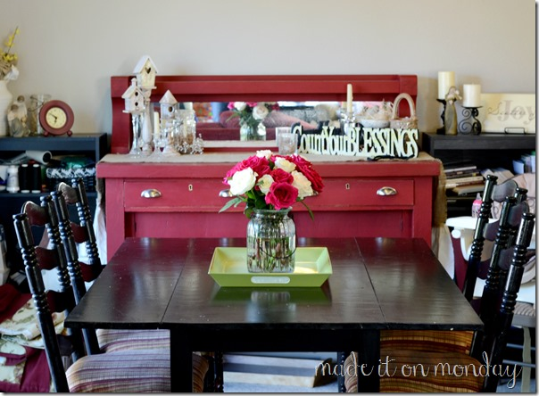 Red Buffet &amp; Barstools | Homemade Chalk Paint