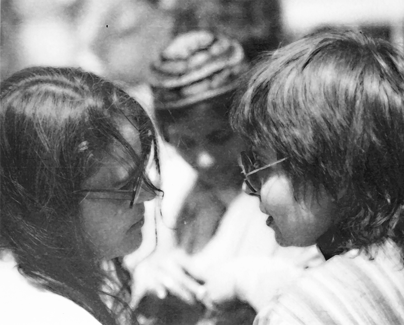 Kate Millet (left) and Robin Morgan (right), keynote speaker at the First National Lesbian Conference, UCLA. 1973.