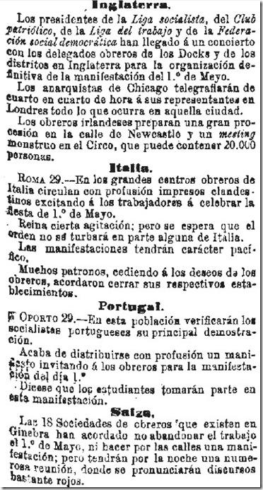 1890-04-30 - La Iberia - 01 (Preparativos del 1º de Mayo - Inglaterra, Italia, Portugal y Suiza)