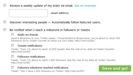 Configurações do TwitterMail