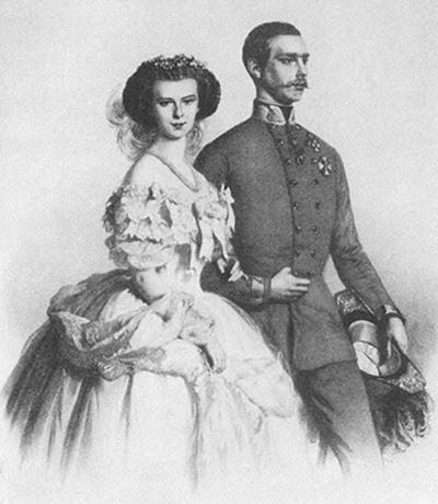 La joven pareja imperial en 1858