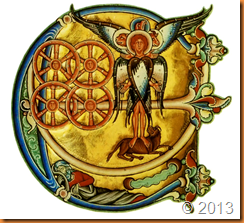 Ezekiel's Vision of the cosmic Tetramorph Winchester bible XIIth century Illuminated letter