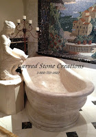 Oval travertine soaking bath tub, Golden Orient travertine with