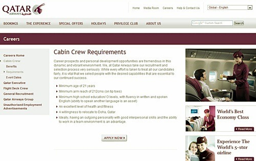 Qatar cabin crew site