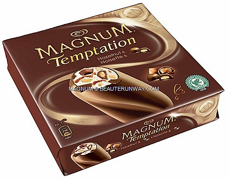 Magnum Temptation Hazelnut new syrup chocolate bonbons sauce caramelised hazelnut pieces vanilla ice cream fruit bon bon dessert