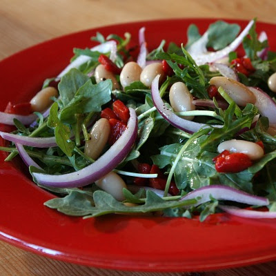 Arugula, White Bean and Roasted Red Pepper Salad