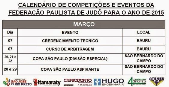 Ano 2015 - Calendario Evento de Judo - Março