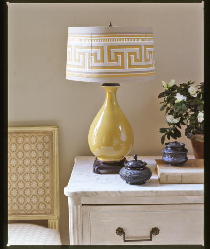 Here is another way to utilize a wallpaper border. It looks like this border was made for this lamp! (Martha Stewart Living, April 2006)