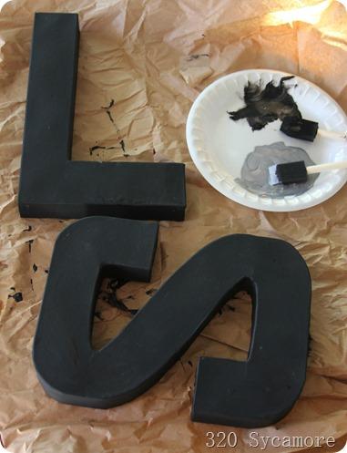 painting paper mache letters zinc look