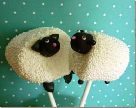 pirulito de cordeiros feito de marshmallow