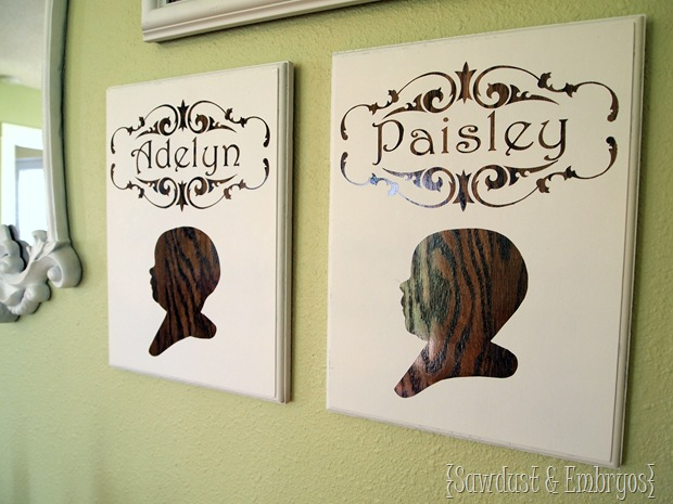 Profile Plaques with Children's Silhouette by Sawdust and Embryos
