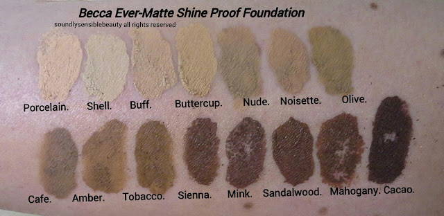 Becca Foundation. Shine Proof Ever Matte; Review & Swatches of Shades
