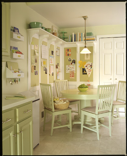 Pin-up boards installed in this family's kitchen organize kids' art work and school papers.