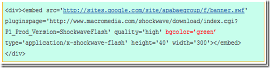 Contoh snippet code flash website