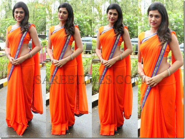 Shraddha_Das_Orange_Plain_Saree