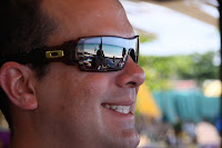 Reflection of Negril beach in Jason's glasses
