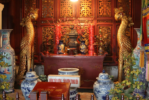 Inside Den Ngoc Son temple, where a statue of national hero General Tran Hung can be found.