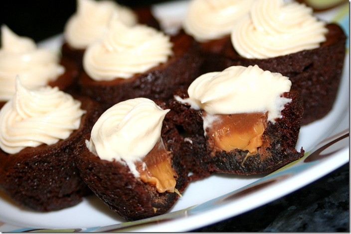 Cook Lisa Cook: Rolo Brownie Bites with Caramel Cream Cheese Frosting