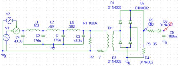 Schematic diagram of Capacitor input filter circuit
