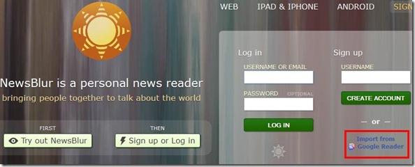NewsBlur importare feed da Google Reader