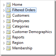 Page 'Filtered Orders' is now second in the menu.